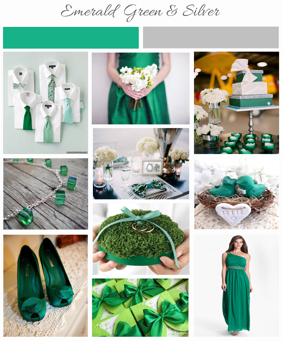 Emerald Green and Silver Inspiration Board - One Charming Day