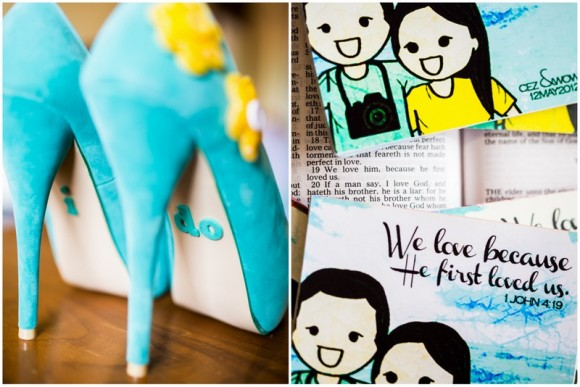 Blue and Yellow Wedding Shoes