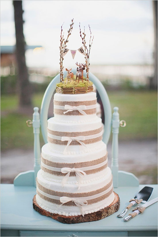 burlap and lace wedding cake toppers burlap and lace wedding and ideas one charming day 12254