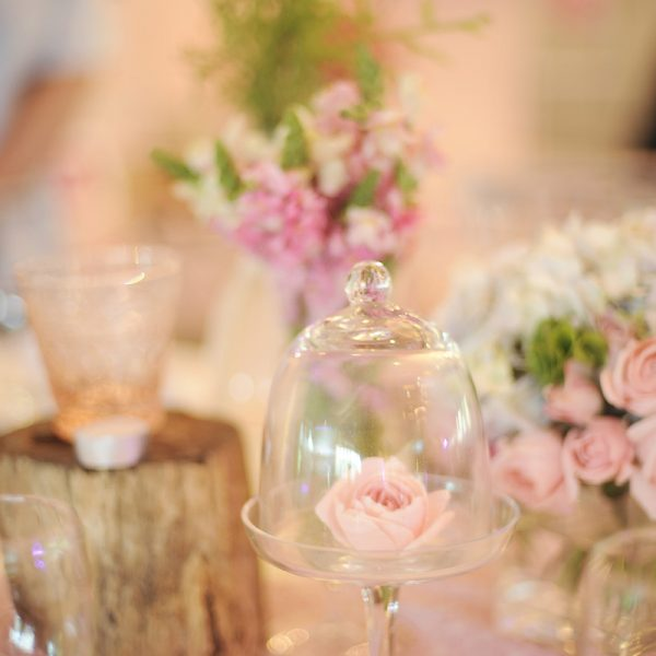 Flowers inside Bell Jars