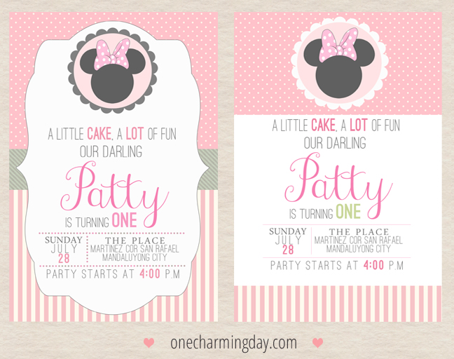 Minnie Mouse Birthday Invitation Ideas One Charming Day