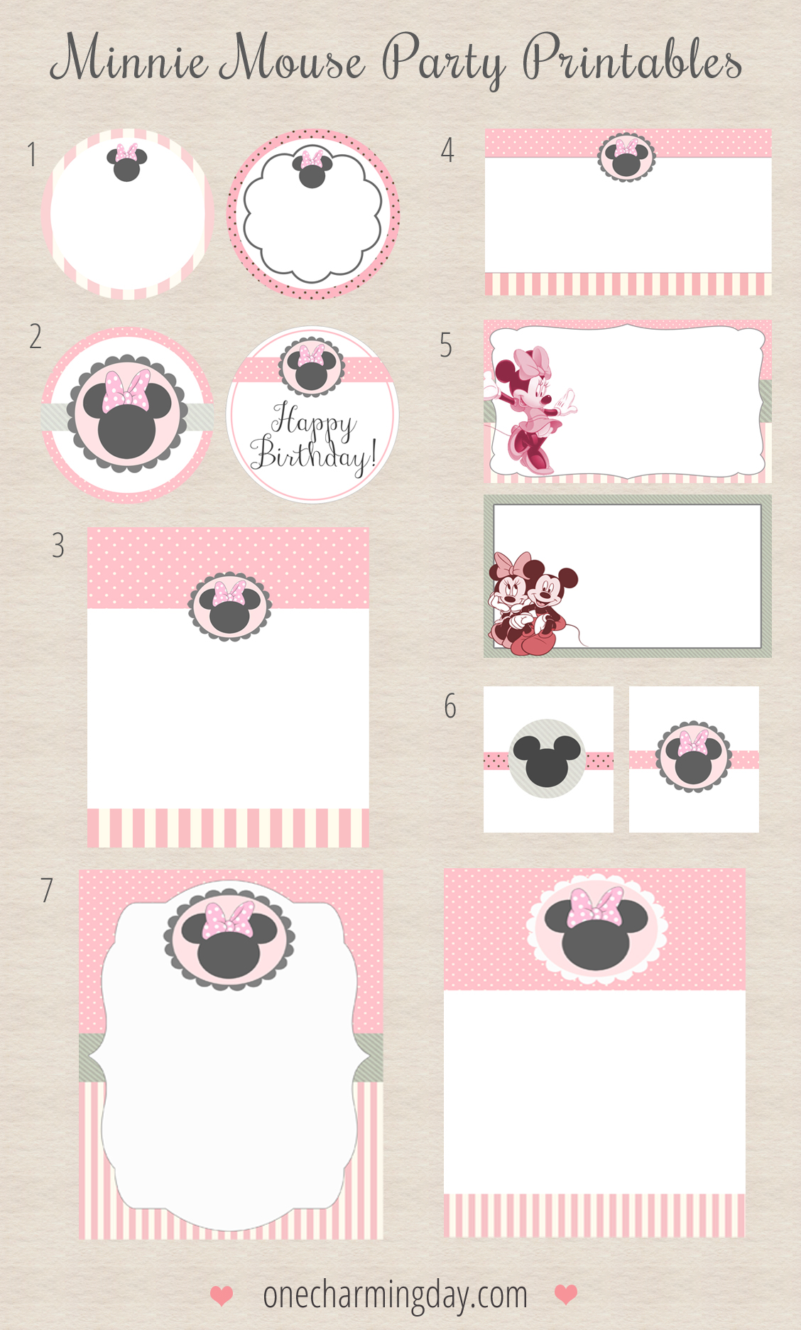free minnie mouse party printables one charming day