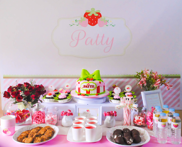 Strawberry Dessert Table - Patty's 2nd Birthday - One Charming Day