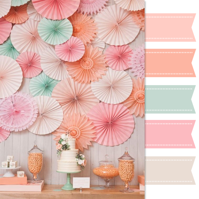 Pretty Palette Mint Peach And Pink Dessert Table One
