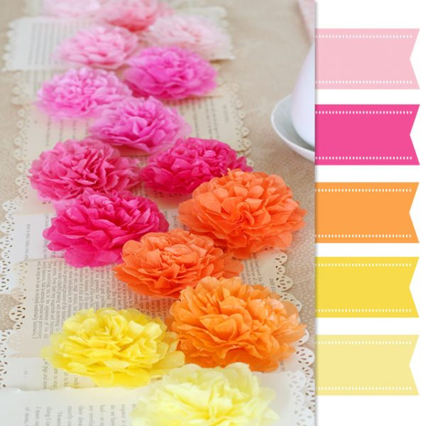 pink orange yellow paper flowers